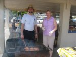 Peeter and Hilda Aare serve as grill chefs