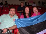 Kati's fans and friends from Estonia at her February 18, 2012 game: Virko, Mari and Kaia.