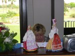 The dolls were props in Mrs. Latterner's remarks.