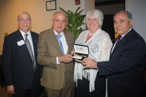 Presenting Her Excellency Ambassador Marina Kaljurand the Key to the City of Miami: Honorary Consul Jorge Viera, Mayor of the City of Miami The Honorable Tomas Regalado and Chair of the Commission of the City of Miami Mr. Willy Gort. February 24, 2014. Miami, FL.