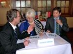 Quiz Judges deliberate: Kalle Kaljurand, Her Excellency Marina Kaljurand, The Honorable Sten Schwede, KFES EV96, 21. veeb. 2014, St. Petersburg, FL