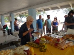 Birthday girl Leena Aare leads the lunch line. KFES piknik, Anna Maria Island, 26 aprill 2015. Foto: Lisa Mets